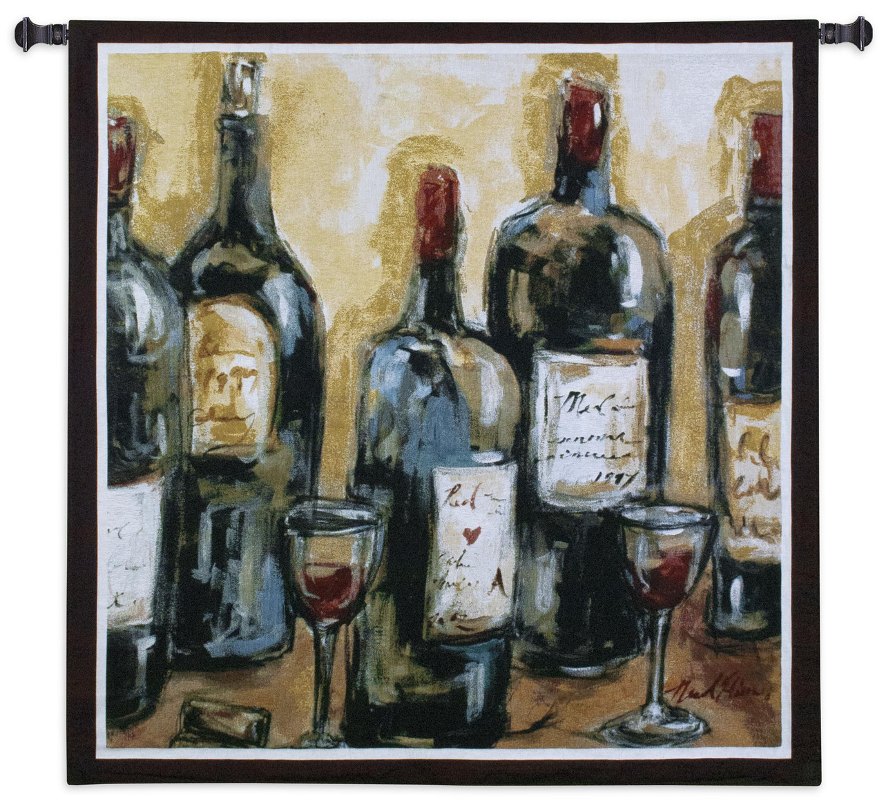Wine Bar Woven Tapestry Wall Art Hanging Impressionist Wine Bottles Still Life 100 Cotton Usa Size 53x53