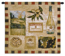 From the Wine Land II | Woven Tapestry Wall Art Hanging | Earthy Impressionist Vineyard Artwork | 100% Cotton USA Size 27x27 Wall Tapestry