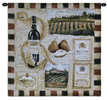 From the Wine Land I | Woven Tapestry Wall Art Hanging | Earthy Impressionist Vineyard Artwork | 100% Cotton USA Size 27x27 Wall Tapestry