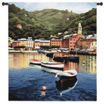 Harbor at Last Light by Ramon Pujol | Woven Tapestry Wall Art Hanging | Peaceful Small Sailboats Anchored in Picturesque Harbor | 100% Cotton USA Size 53x50 Wall Tapestry