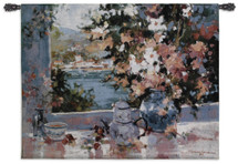 Window View | Woven Tapestry Wall Art Hanging | Floral Seascape Impressionist Flowers in Vase | 100% Cotton USA Size 53x40 Wall Tapestry