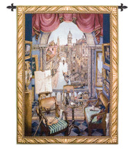 Venice - Woven Tapestry Wall Art Hanging - Artists Regally Furnished Suite With Easel Is Shown Canals Of Venice - 100% Cotton - USA 53X38 Wall Tapestry