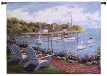 Harborside Reflection by Carol Saxe | Woven Tapestry Wall Art Hanging | Adirondack Chairs Overlooking Harbor Sailboats | 100% Cotton USA Size 53x40 Wall Tapestry