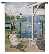 Lighthouse View - Woven Tapestry Wall Art Hanging - Adirondack Chairs Lighthouse Seascape Sailboats Coastal Scene Decor - 100% Cotton - USA 53X40 Wall Tapestry