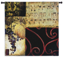 Autumn Waltz II | Woven Tapestry Wall Art Hanging | Contemporary Fall Collage with Grapes and Sheet Music | 100% Cotton USA Size 53x53 Wall Tapestry