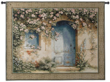 Un Apres Midi by Fabrice de Villeneuve   Woven Tapestry Wall Art Hanging   Blue Rustic Door Arch Floral Canopy   100% Cotton USA Size 53x42 Wall Tapestry