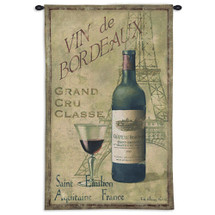 Saint Emilion | Woven Tapestry Wall Art Hanging | Vintage Bordeaux Wine with Eiffel Tower | 100% Cotton USA Size 53x33 Wall Tapestry