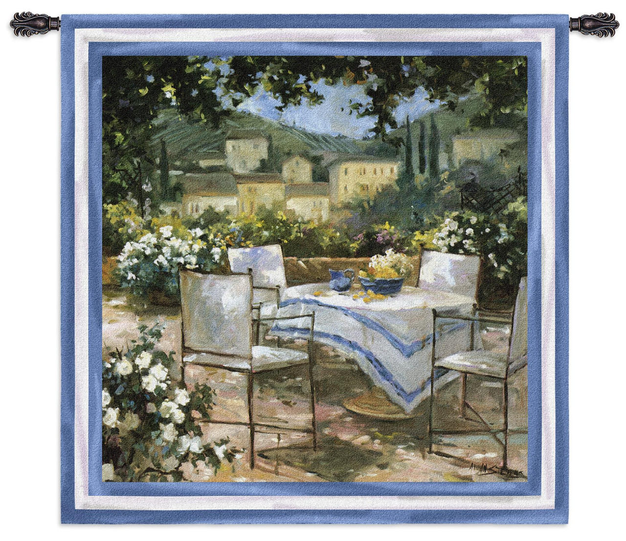 Tuscany Terrace Woven Tapestry Wall Art Hanging Gorgeous Italian Villa Outdoor Table 100 Cotton Usa Size 53x53