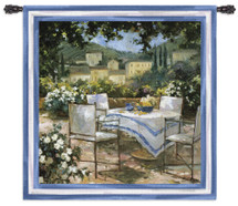 Tuscany Terrace | Woven Tapestry Wall Art Hanging | Gorgeous Italian Villa Outdoor Table | 100% Cotton USA Size 53x53 Wall Tapestry