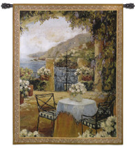 Seaside Terrace | Woven Tapestry Wall Art Hanging | Impressionistic European Seaside Floral Villa Scene | 100% Cotton USA Size 53x41 Wall Tapestry