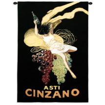 Cinzano by Leonetto Cappiello | Woven Tapestry Wall Art Hanging | Vintage French Wine Advertisement Poster | 100% Cotton USA Size 53x38 Wall Tapestry