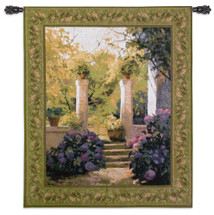 Jardi Interior Claustre | Woven Tapestry Wall Art Hanging | Lush Impressionist Courtyard Entrance with Hydangeas | 100% Cotton USA Size 53x44 Wall Tapestry