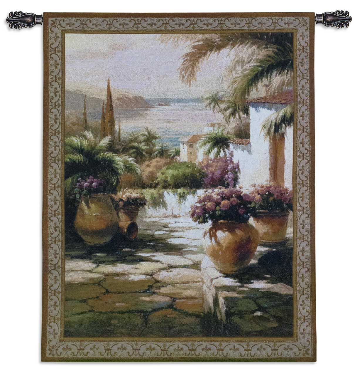 Courtyard View I Woven Tapestry Wall Art Hanging Contemporary Tuscan Villa Harbor Mediterranean Seascape 100 Cotton Usa Size 53x38