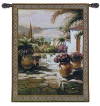Courtyard View I | Woven Tapestry Wall Art Hanging | Contemporary Tuscan Villa Harbor Mediterranean Seascape | 100% Cotton USA Size 53x38 Wall Tapestry