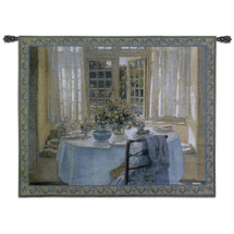 Morning Room | Woven Tapestry Wall Art Hanging | Table at Peaceful Sunlit Breakfast Nook | 100% Cotton USA Size 75x53 Wall Tapestry