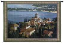 Garden on the Cote d'Azur by Max Hayslette | Woven Tapestry Wall Art Hanging | French Riviera Coast Village Rooftop View | 100% Cotton USA Size 73x53 Wall Tapestry