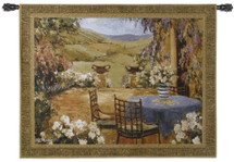 Countryside Terrace by Allayn Stevens | Woven Tapestry Wall Art Hanging | Romantic Floral Balcony on European Landscape | 100% Cotton USA Size 53x42 Wall Tapestry