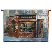 Aux Mousquetaries | Woven Tapestry Wall Art Hanging | Vintage French Bakery Street Scene | 100% Cotton USA Size 53x38 Wall Tapestry