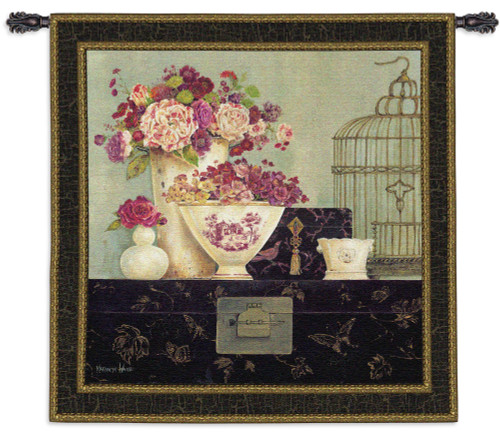 Butterfly Blossoms   Woven Tapestry Wall Art Hanging   Bright Pink Bouquets with Bird Cage   100% Cotton USA Size 53x53 Wall Tapestry