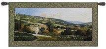 My Villa in Tuscany by Max Hayslette | Woven Tapestry Wall Art Hanging | Sunset over Hillside European Villa | 100% Cotton USA Size 53x27 Wall Tapestry