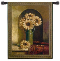 Sunflowers With Persian Rug by Loran Speck - Woven Tapestry Wall Art Hanging for Home & Office Decor - Sunflowers Green Vase Next To A Dark Red Carpet Floral Still Life - 100% Cotton - USA 53X40 Wall Tapestry