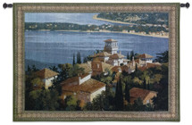Garden on the Cote d'Azur by Max Hayslette | Woven Tapestry Wall Art Hanging | French Riviera Coast Village Rooftop View | 100% Cotton USA Size 53x38 Wall Tapestry