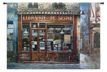 Librairie De Seine By Stan Beckman | Woven Tapestry Wall Art Hanging | European French Bookstore Library | 100% Cotton USA Size 53x27 Wall Tapestry