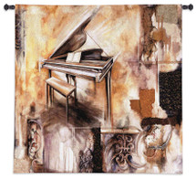 Piano Extraordinaire by Ruth Franks | Woven Tapestry Wall Art Hanging | Abstract Grand Piano with Architectural Motif | 100% Cotton USA Size 53x53 Wall Tapestry