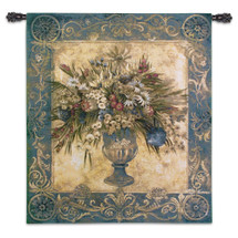 Tuscan Urn Cerulean by Liz Jardine | Woven Tapestry Wall Art Hanging | Overflowing Decorative Vase Still Life | 100% Cotton USA Size 53x45 Wall Tapestry