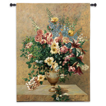 Morning Blossoms by Welby | Woven Tapestry Wall Art Hanging | Extravagant Floral Bouquet Still Life | 100% Cotton USA Size 53x40 Wall Tapestry