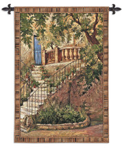 Tuscan Villa I By Roger Duvall - Woven Tapestry Wall Art Hanging - Tuscany Village Steps Rustic Cityscape Mediterranean Themed Artwork - 100% Cotton - USA 53X40 Wall Tapestry