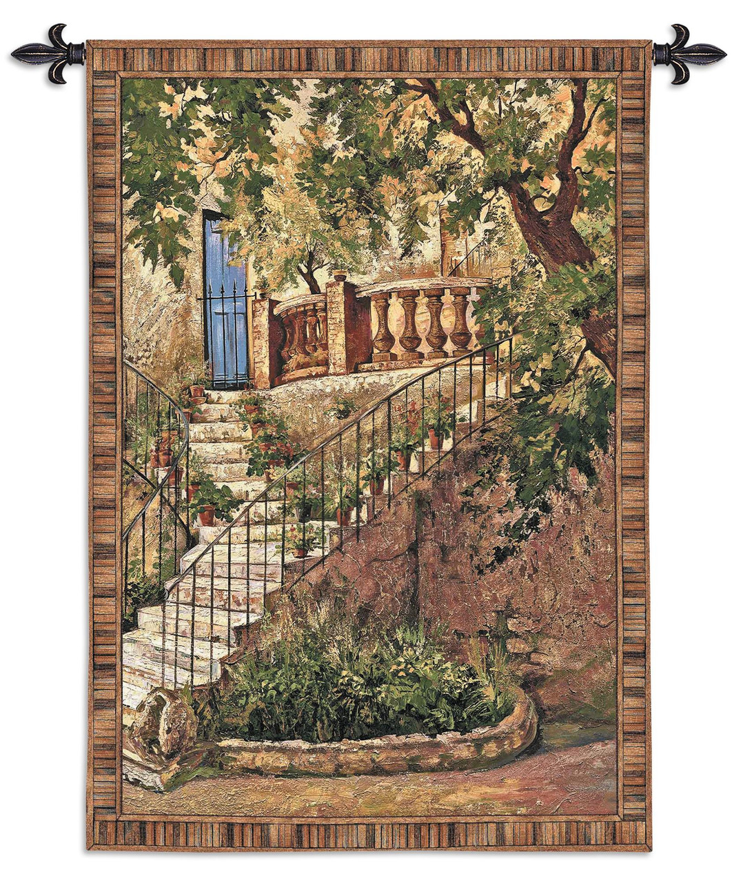 Tuscan Villa I By Roger Duvall Woven Tapestry Wall Art Hanging Rustic Italian Steps With Foliage 100 Cotton Usa Size 53x40