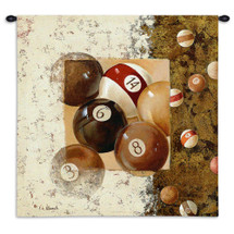 Billiard Balls by Fabrice de Villeneuve | Woven Tapestry Wall Art Hanging | Billiard Table Abstract Arrangement | 100% Cotton USA Size 34x34 Wall Tapestry