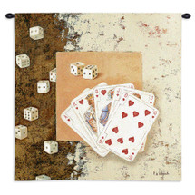 Playing Cards and Dice by Fabrice de Villeneuve | Woven Tapestry Wall Art Hanging | Game Room Decor with Royal Flush | 100% Cotton USA Size 34x34 Wall Tapestry