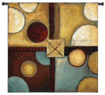 Groovin' | Woven Tapestry Wall Art Hanging | Rustic Abstract Circle and Square Pattern | 100% Cotton USA Size 53x53 Wall Tapestry