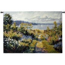 Garden View By Bruce F. Mcadam | Woven Tapestry Wall Art Hanging | Coastal Décor Seascape Sunflowers Sailboats | 100% Cotton USA Size 53x38 Wall Tapestry