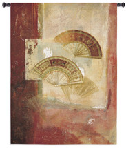 Fan Abstract by Fabrice de Villeneuve | Woven Tapestry Wall Art Hanging | Luxurious Golden Folding Fans on Soft Red Background | 100% Cotton USA Size 52x39 Wall Tapestry