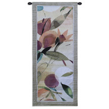Fiesta Primavera I by Lola Abellan | Woven Tapestry Wall Art Hanging | Floral Organic Forms and Fruit Themes | 100% Cotton USA Size 53x22 Wall Tapestry