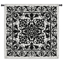 Iron Work Black and White | Woven Tapestry Wall Art Hanging | Indian Hindu Themed Intricate Architectural Metal Filigree | 100% Cotton USA Size 53x53 Wall Tapestry