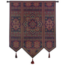 Masala Cinnamon | Woven Tapestry Wall Art Hanging | Eastern India Inspired Motif in Dark Tones | 100% Cotton USA Size 67x53 Wall Tapestry
