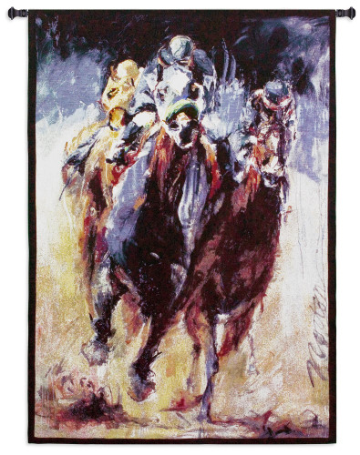 Stretch By Deborah Norton | Woven Tapestry Wall Art Hanging | Horse Race | 100% Cotton USA Size 53X38 Wall Tapestry
