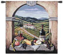 Vineyard Road by Barbara Felisky | Woven Tapestry Wall Art Hanging | Arch Window Feast over Tuscan Countryside | 100% Cotton USA Size 53x53 Wall Tapestry