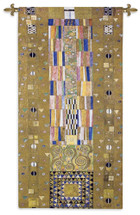 Stoclet Frieze Knight by Gustav Klimt - Stoclet Frieze Series | Woven Tapestry Wall Art Hanging | Geometric Shapes Lush Color Palette Masterpiece | 100% Cotton USA Size 116x53 Wall Tapestry