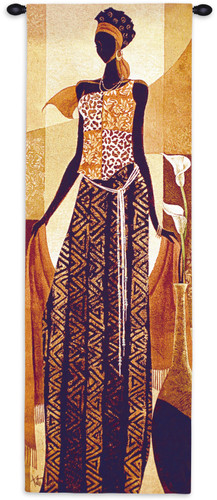 Malaika by Keith Mallett | Woven Tapestry Wall Art Hanging | Elegant African Woman | 100% Cotton USA Size 48x16 Wall Tapestry
