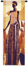 Malaika by Keith Mallett   Woven Tapestry Wall Art Hanging   Elegant African Woman   100% Cotton USA Size 48x16 Wall Tapestry