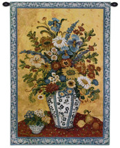 Suzanne'S Blue And White By Etienne  - Woven Tapestry Wall Art Hanging For Home Living Room & Office Decor - Colorful Flower Blooms In Vase Still Life Artwork - 100% Cotton - USA Wall Tapestry