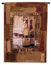 Perfect Vintage Ii by Rob Heffernan - Woven Tapestry Wall Art Hanging for Home & Office Decor - Wine Lover's Favorite Still Life Wine Bottles Glass Abstract - 100% Cotton - USA 53X37 Wall Tapestry