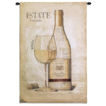 Estate Vineyards | Woven Tapestry Wall Art Hanging | Minimalist Contemporary White Wine Artwork | 100% Cotton USA Size 53x36 Wall Tapestry