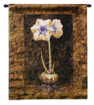 Lady Jane | Woven Tapestry Wall Art Hanging | Rich Earthy White Flower Bulb | 100% Cotton USA Size 34x26 Wall Tapestry