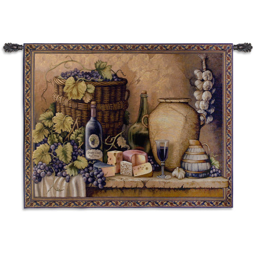 Wine Tasting   A Still Life Of Grapes Wine & Cheese   Woven Tapestry Wall Art Hanging   100% Cotton USA Size 40X52 Wall Tapestry